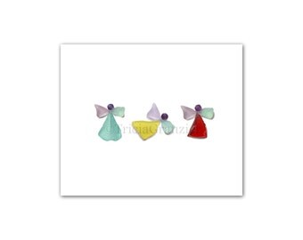 Print, Angels I, Sea Glass Art