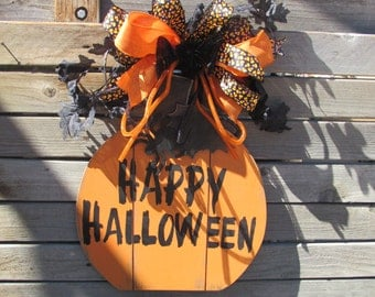 Happy Halloween Door Decor Happy Halloween Sign Spider Door Decor Pumpkin Door Decor Bat Door Decor Black Orange Door Sign Candy Corn Decor