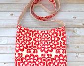 Modern Mandala Floral Print Crossbody Bag, Crossbody Purse, Boho Crossbody Bag, Canvas Bag