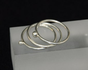 Lichen, Silver, Stacking Rings, Set of Three,