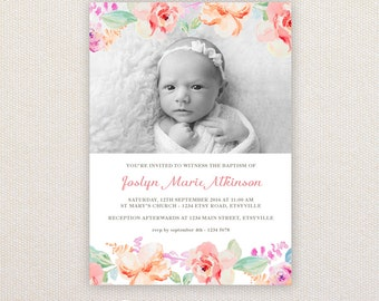 Girls Photo Christening/baptism Invitations. Watercolor florals. I Customize, You Print.