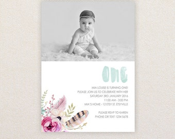 Photo Birthday Party Invitations. Boho flowers and feathers. I Customize, You Print.