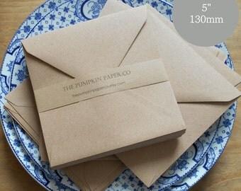 "50 Kraft Envelopes 5x5 Envelopes Square Envelopes recycled kraft rustic wedding invitations greetings card making True size 5.1/8"" 130x130mm"