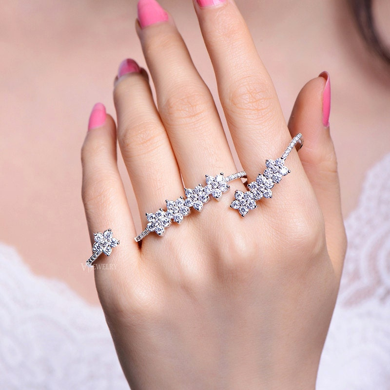 Full Finger Cubic Zirconia Rings 4 Finger Rings Palm Rings