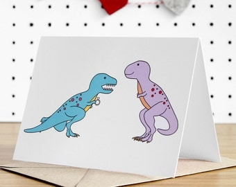 Engagement Card, Dinosaur engagement card, dinosaur, congratulations, proposal, engaged, love cards, trex, tyrannosaurus, celebration