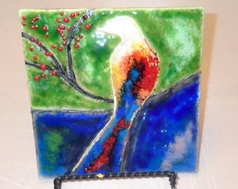 Fused Glass Wall or Table Art - Sweet Birdie