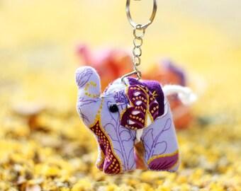 ELEPHANT / Set 10 elephant keychains, Elephant keychain, Animal keychain, Stuffed elephant, Elephant fabric, Key ring, Gift
