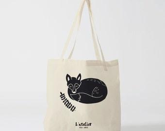 Tote bag fox, animal bag, black illustration, tote bag, handbag, cotton tote bag, beach bag, shopping bag, bag of course.