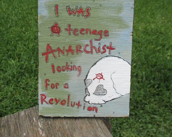 against me inspired painting, teenage anarchist lyrics, revolution, punk outsider art brut, painted low brow skull flowers, laura jane grace