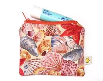 Starfish and seashells coin pouch, mini zipper pouch, zippered coin purse