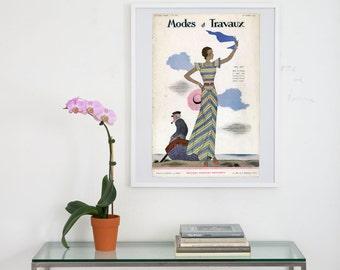 modes et travaux archival print, vintage french fashion print, archival cover art print, cover art print, wall art photograph, fashion print