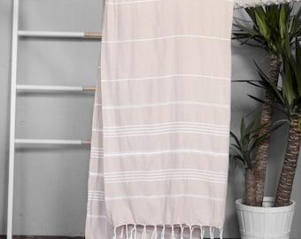Turkish Towel Tan | Authentic Beach Towel Travel Throw Bath Towel Fouta Turkish Cotton Towel Yoga Spa Blanket Sarong Summer Accessory TAL10