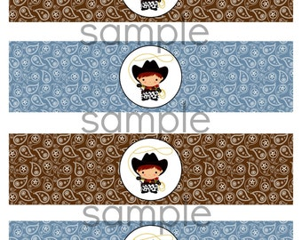 INSTANT WESTERN Cowboy Theme Water Label Bottle Label Printable File