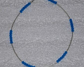 "Minimalist 15"" Sterling Silver Royal Blue Sea Glass Choker Necklace"