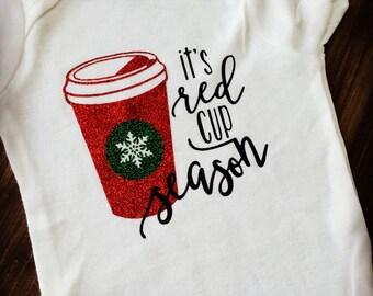 Red Cup Season Onesie , Christmas onesie