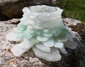 Winter Sky Glow Sea Glass Tea Light Votive Lantern Mermaid Lamp - Handmade in Cornwall