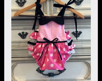 Minnie Mouse Inspired Romper, Minnie Mouse Costume, Minnie Mouse Party, Minnie Mouse Birthday, Smash Cake, Disneyland Romper