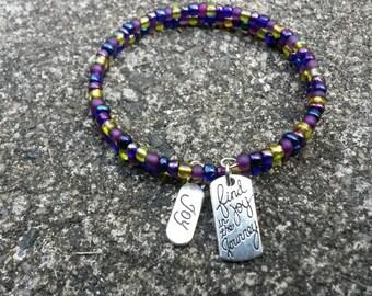 Wrap Bracelet, Find Joy in the Journey Bracelet, Seed Beads Wrap Bracelet, Glass Beads Wrap Around