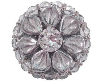 Art Deco Cabinet Knob Swarovski Crystal & Czech Glass/Kitchen Cabinet Knob/Jeweled Cupboard Hardware/Girls Dresser Drawer Knob/Unique Knob