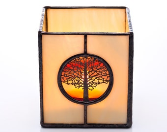 Tree of Life Harvest Blood Moon Stained Glass Tea light Candle Holder