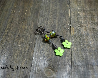 Boho Lampwork Glass Flower Earrings, Lime Green Glass Flowers, Oxidized Copper, Rustic Jewelry, Bohemian Artisan Green Earrings, Gypsy, Chic