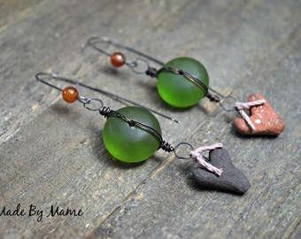 Rustic Boho Assemblage Earrings, Ceramic, Handmade, Artisan, Eco Friendly, Oxidized Copper, Organic, Earthy, Gypsy, Bohemian Jewelry, Green