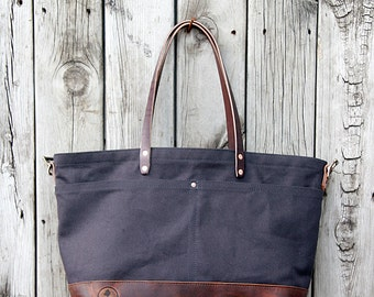 FOURTOWN TOTE BAG | Espresso Deluxe | Large Canvas Tote Bag | Leather Straps | Interior & Exterior Pockets | Lifetime Guarantee