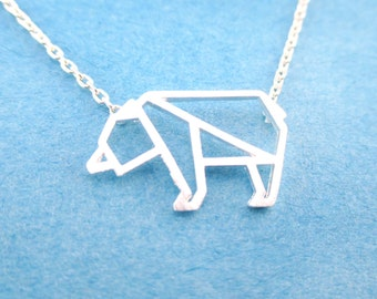 Small Polar Bear Outline Shaped Animal Charm Necklace in Silver | Handmade Animal Jewelry