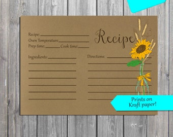 Rustic Recipe Card INSTANT DOWNLOAD digital Recipe Card, Kraft Rustic Recipe Cards, also available professionally printed