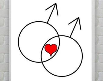 Red Heart Print, Wall Print, Male poster. Love print. Gerder printable art. Homo gay poster. Inspirational
