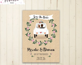 save the date postcard kraft paper save the date wedding invitation cartoon wedding invitation rustic save the date car church save the date