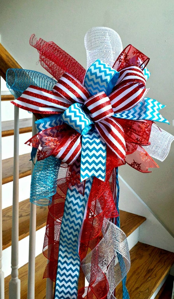 red and turquoise christmas tree topper bow holiday deluxe. Black Bedroom Furniture Sets. Home Design Ideas