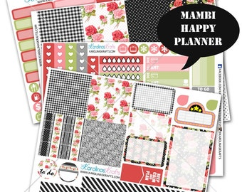 Shabby Rose Floral Planner Stickers 200+ Happy Planner Stickers, Mambi Planner Sticker kit, Weekly Planner Kit, Summer Stickers #SQ00897-MHP