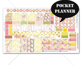 Blush Pink Gold Floral MONTHLY Planner Kit  /Pocket Planner Stickers / Sew Much Crafting / Monthly Sticker Kit #SQ00217-Pocket