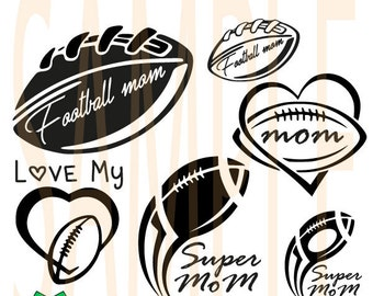 SALE! Football mom love SVG ,DFX, eps, png monogram clip-art pack vector files.