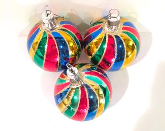 Vintage 1980s  Glass Christmas Ornaments Made in Mexico. Set of 3 Hand Painted Balls in a Variety of Colors.