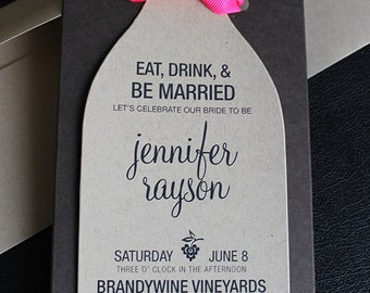 items similar to wine bridal shower invitation, wine bottle, Bridal shower invitations