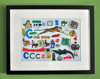 Limited Edition Alphabet Collage Print With Mount: C Is For...  Original, Vintage-Themed, Unframed