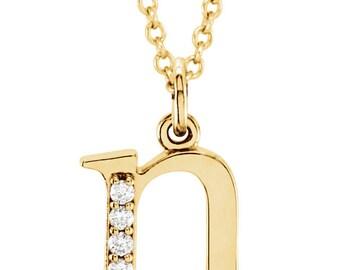 14K Rose 14K Yellow Gold 14K White Gold .025 CTW Diamond Tiny Petite Lowercase Letter n Initial Alphabet Pendant Charm Necklace CKL85803