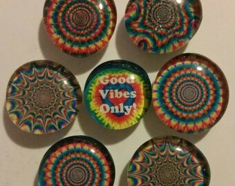Set of 7 strong glass magnets, Good Vibes Only tye dye, bright, colorful refrigerator magnets, fridge magnets, kitchen decor, hippy magnets