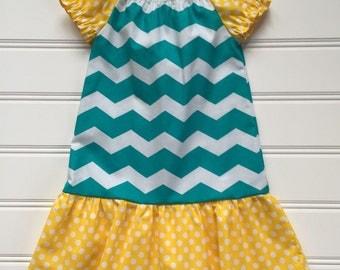 Teal Dress for Toddler, Toddler Girl Dress, Girl Summer Dress, Little Girl Dress, Girl Yellow Dress, Girl Spring Dress, Toddler Dress