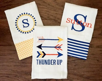 Burp Cloth. Baby Burp Cloth. Cloth Diaper. Diaper Burpcloth- OKC Thunder - set of three - Baby Shower- Baby Gift - Newborn