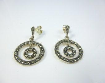 Marcasite Earrings  Sterling Silver Earrings,  Circle Earrings, Dangle Earrings