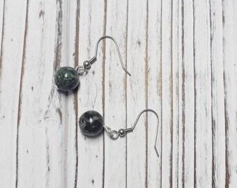 Earrings, Rhyolite Jasper Earrings, Simple Earrings, Earrings, Natural Stone - 1 Pair