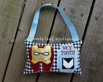 6x10 Ironman Inspired Tooth Fairy Pillow ITH Design 6x10 Hoop