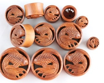 Koi Fish Tunnels - Carved Koi Fish Plugs - Ear Tunnels hand carved from sawo wood - one pair - 8mm - 30mm - PA39