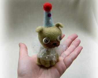 Pug needle felted . Art doll. Dog doll. Wool toy. Felted toys. Needle felted dog. Felt doll. Small toys. Felt puppy. Tiny doll. Felt dog.