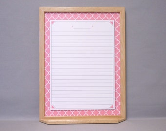 "Pink / White Quatrefoil Large Message Center Dry Erase Board 24""x18"" - Flamingo Moroccan Tile Pattern Whiteboard - Memo Board / Note Board"