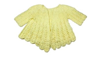 Vintage Baby Cardigan / Crocheted Cardigan / Vintage Baby Sweater