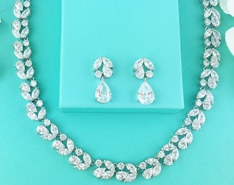 Wedding Jewelry Set, CZ Bridal Necklace Set, bridal jewelry, wedding jewelry, cz jewelry set, jewelry set, wedding set 278844782